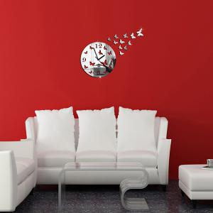 New Butterfly Design Round 3d Home Decor Mirror Wall Clock -
