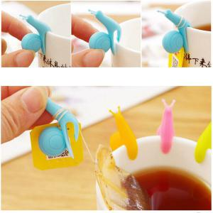 6PCS Cute Snail Design Silicone Tea Bag Holder Cup Mug Accessory - Random Color - Panda Shape