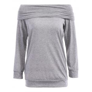 Sexy Off The Shoulder Solid Color Long Sleeve Sweatshirt For Women