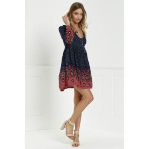 Stylish V-Neck 3/4 Sleeve Floral Print Women Tunic Dress -