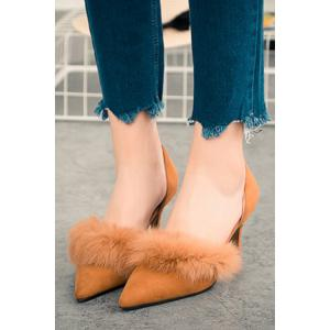 Stylish Faux Fur and Pointed Toe Design Women's Pumps -