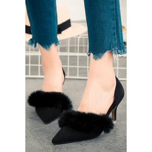 Stylish Faux Fur and Pointed Toe Design Women's Pumps - BLACK 36