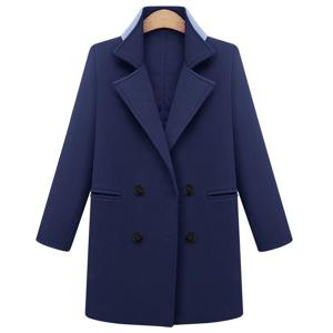 Stylish Lapel Long Sleeve Double-Breasted Plus Size Coat For Women - Purplish Blue - 4xl