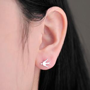 Swallow Shape Stud Earrings - SILVER