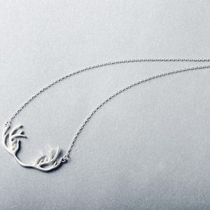 Sweet Solid Color Antler Shape Pendant Necklace For Women - SILVER