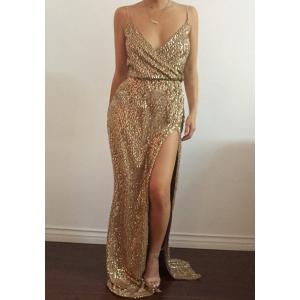 Sequin High Slit Long Evening Dress