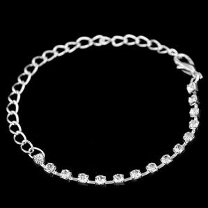 A Suit of Stylish Rhinestoned Necklace Ring Bracelet and Earrings For Women - SILVER ONE-SIZE
