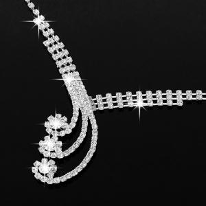 A Suit of Stylish Rhinestoned Necklace Ring Bracelet and Earrings For Women -