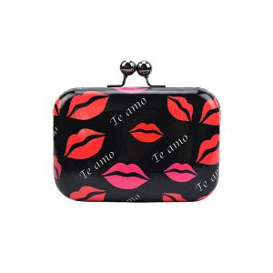Stylish Sexy Lip Print and Kiss Lock Design Women's Evening Bag -