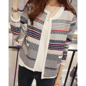 Sweet Style Round Neck Long Sleeve Printed Pocket Design Women's Cardigan -