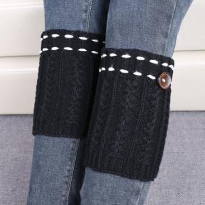 Pair of Chic Strappy and Button Embellished Knitted Boot Cuffs For Women