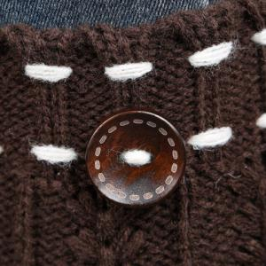 Pair of Chic Strappy and Button Embellished Knitted Boot Cuffs For Women - LIGHT KHAKI