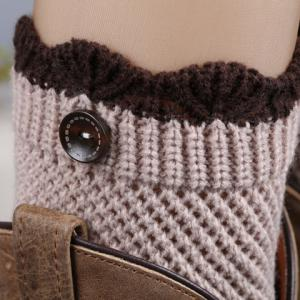Pair of Chic Wavy Edge and Button Embellished Knitted Boot Cuffs For Women -