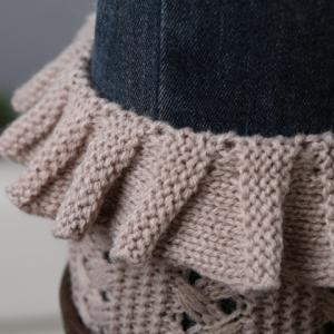 Pair of Chic Flouncing Hollow Out Weaving Knitted Leg Warmers For Women -
