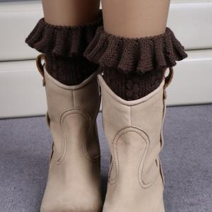 Pair of Chic Flouncing Hollow Out Weaving Knitted Leg Warmers For Women - Coffee
