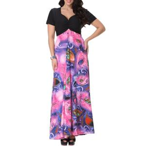 Bohemian Sweetheart Neckline Short Sleeve Printed Maxi Dress For Women