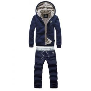 Casual Hooded Badge Embellished Front Pocket Fitted Flocky Men's Long Sleeves Hoodie+Pants