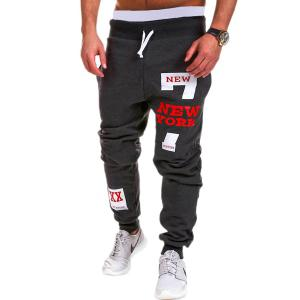 Lace-Up Letters and Number Print Beam Feet Men's Pants - Deep Gray - L