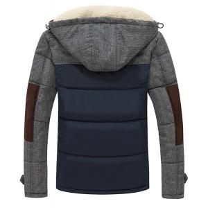 Slimming Splicing Stand Collar Thicken Long Sleeve Zipper Cotton-Padded Coat For Men - SAPPHIRE BLUE M