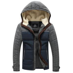 Slimming Splicing Stand Collar Thicken Long Sleeve Zipper Cotton-Padded Coat For Men