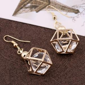 Pair of Vintage Rhinestone Polygon Hollow Out Earrings For Women - GOLDEN