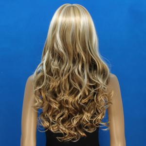 Attractive Full Bang Synthetic Shaggy Curly Capless Stylish Blonde Mixed Flax Long Wig For Women -