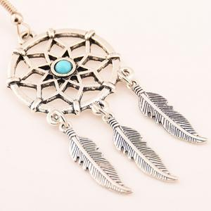 Pair of Fashionable Hollow Out Feather Tassel Earrings For Women - SILVER