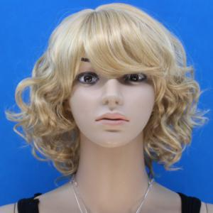 Noble Blonde Mixed Flax Synthetic Stylish Short Side Bang Fluffy Curly Capless Wig For Women -