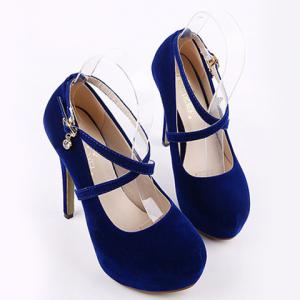 Fashionable Flock and Cross-Strap Design Women's Pumps -