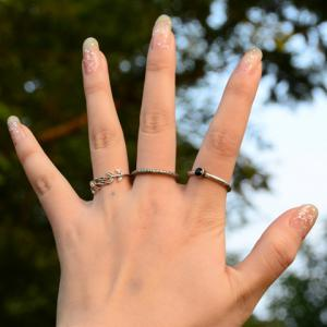 A Suit of Chic Rhinestone Leaf Pitted Surface Rings For Women -
