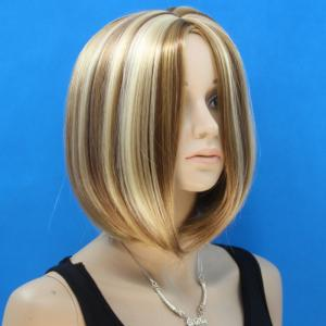 Sweet Short Bob Style Synthetic Fashion Straight Flax Brown Mixed Middle Part Wig For Women - COLORMIX