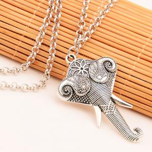 Vintage Elephant Shape Engraved Link Chain Hairband For Women -