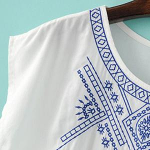 Brief Scoop Neck Embroidery Short Sleeve T-Shirt For Women -