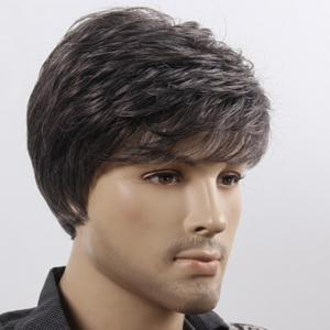Short Fluffy Natural Wave Synthetic Men's Wig -