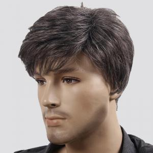 Short Fluffy Natural Wave Synthetic Men's Wig - COLORMIX
