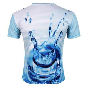 Round Neck 3D Water Print Short Sleeve Men's T-Shirt - BLUE 2XL
