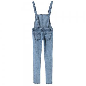 Stylish Criss-Cross Bleach Wash Denim Overalls For Women -
