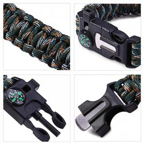 5pcs 5 in 1 Outdoor Paracord Bracelet / Fire Starter / Whistle / Compass -