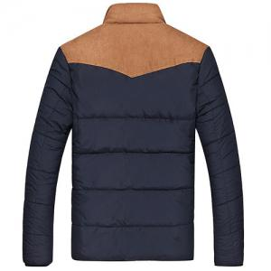 Flocking Stand Collar Splicing Design Long Sleeve Thicken Men's Cotton-Padded Jacket - CADETBLUE S