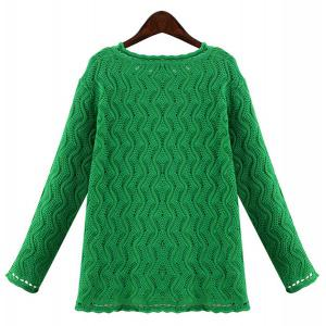 Stylish Jewel Neck Long Sleeve Solid Color Wave Cardigan For Women - GREEN 3XL