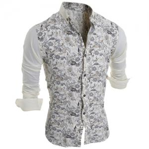 Turn-Down Collar Color Block Splicing Floral Print Long Sleeve Men's Shirt