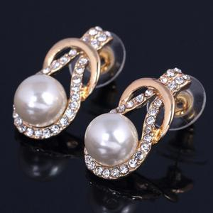 A Suit of Graceful Faux Pearl Zircon Necklace and Earrings For Women -