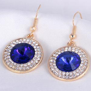 A Suit of Graceful Faux Crystal Round Pendant Necklace and Earrings For Women -