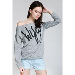 Sexy Letter Printed Slash Neck Pullover Sweatshirt For Women - Gray - Xl