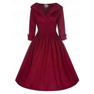 Vintage Turn-Down Collar 3/4 Sleeve Slimming Dress For Women