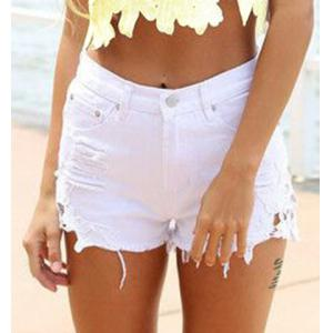 High Waist Lace Trim Mini Denim Shorts - White - 2xl
