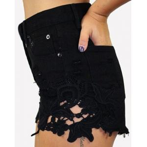 High Waist Lace Trim Denim Mini Shorts - Black - M