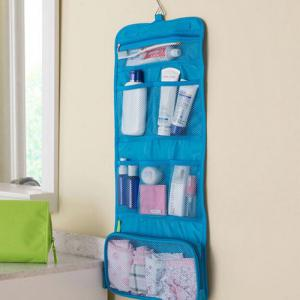 Portable Hanging Organizer Bag Make Up Wash Bags Foldable Travel Handbag - Blue