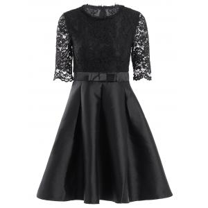 Retro Jewel Neck 1/2 Sleeve Solid Color Lace Spliced Women's Ball Gown Dress - Black - M