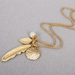 Faux Pearl Feather Leaf Sweater Chain -